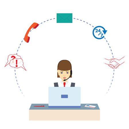 Woman  working in a call center. Call center. Support service. Concept, illustration, elements for design. Vettoriali