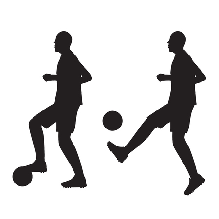 Black silhouette of football player with the ball. Soccer. Sportsman.