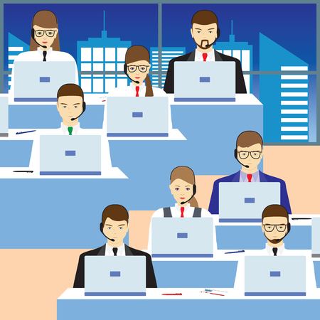 city center: Men and women working in a call center. Call center. Support service. Concept, illustration, elements for design.