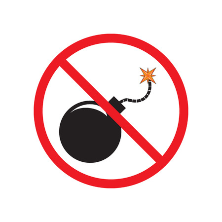 killed: No Bomb. Sign, symbol, icon. Black bomb with a burning fuse.