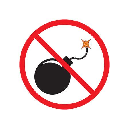 bomb sign: No Bomb. Sign, symbol, icon. Black bomb with a burning fuse.