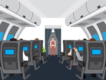 uvnitř: Interiér salonu letadla. Cestující v letadle. Ilustrace