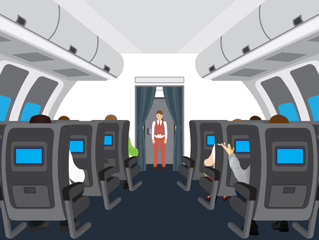 Interior of salon of the plane. Passengers on the plane. Vectores