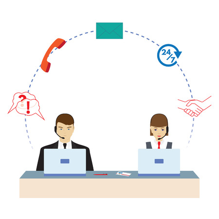 Man and woman working in a call center. Call center. Support service. Concept, illustration, elements for design.