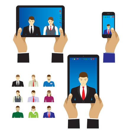 Selfie photo on smartphone and tablet computer. Illustration, elements for design. Vettoriali