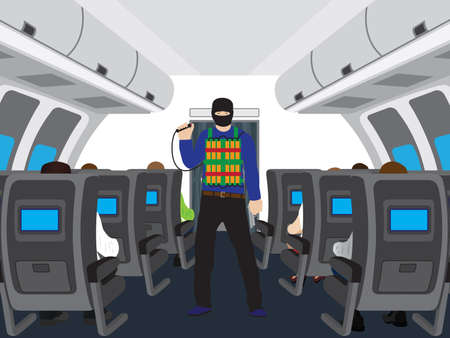 terrorist: Terrorist with a bomb in salon of the plane. Illustration, elements for design. Illustration