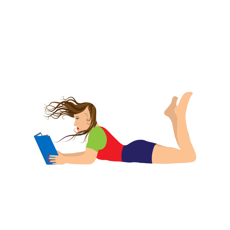 Young woman reading a book. Illustration, elements for design.