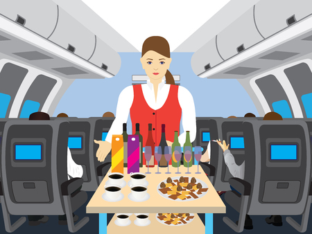 Stewardess in salon of the plane. Stewardess with the cart and drinks. Interior of salon of the plane. Passengers on the plane.