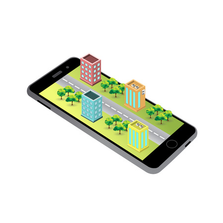 3D map (Isometric buildings) on the screen of the smartphone. Vettoriali