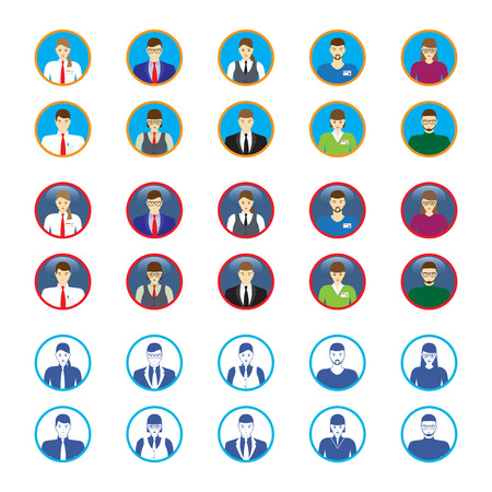 Male and female faces icons. Business people avatars. Vettoriali