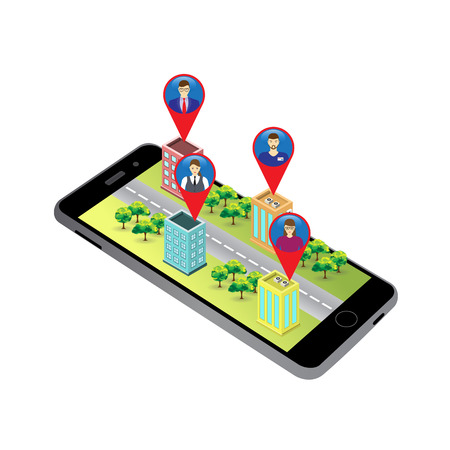 gps device: 3D map (Isometric buildings) on the screen of the mobile device and icons of people with GPS sign. Social Networks. Social Media. Global communication.