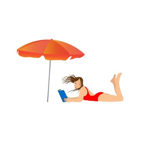 teenage girl bikini: Young woman reading a book under an umbrella. Illustration, elements for design. Illustration