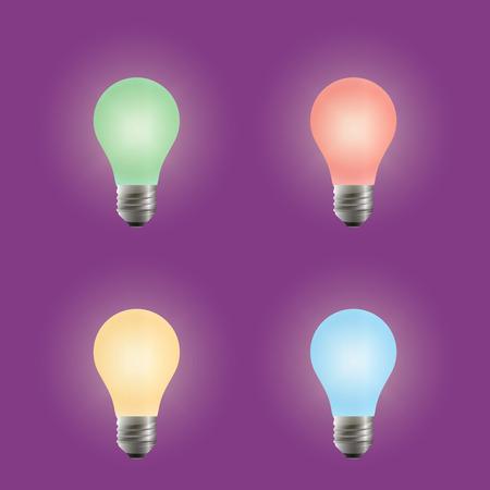 Light bulb. Different variants of colors. Illustration, elements for design.