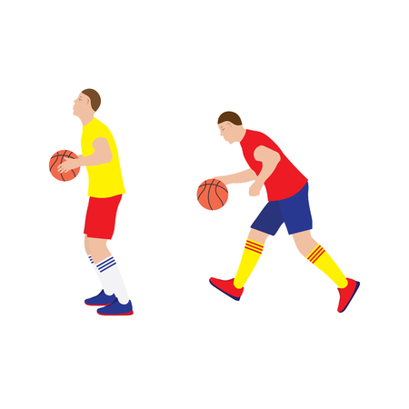 Basketball player with the ball. Basketball. Sportsman. Sport. Vettoriali