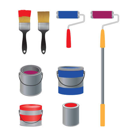 Brush and roller for paint, banks with paint. Painting tools. Vettoriali