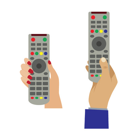 Hand with a remote control. Illustration, elements for design.