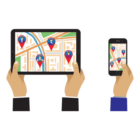 City map on the screen of the mobile device and GPS signs. Social Networks. Social Media. Global communication.