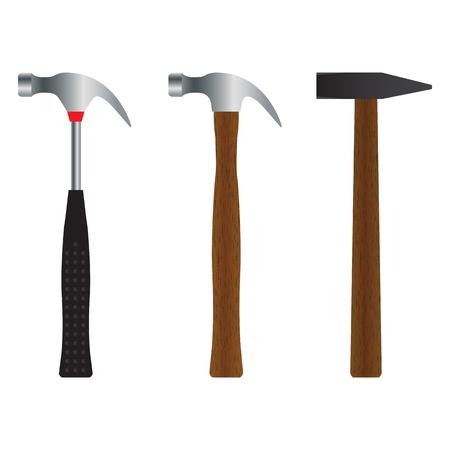 Hammer. Different versions. Illustration, elements for design.