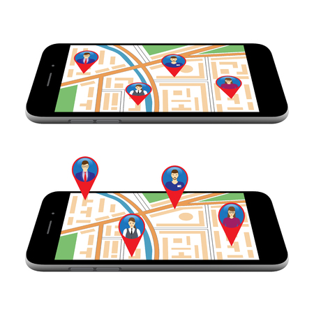 City map on the screen of the mobile device. Social Networks. Social Media. Global communication.