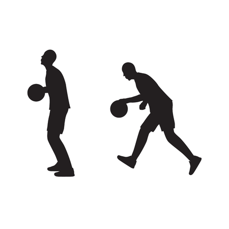 sportsman: Black silhouette of basketball player with the ball. Basketball. Sportsman. Sport.