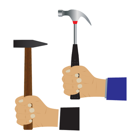Hand with a hammer. Illustration, elements for design. Vettoriali