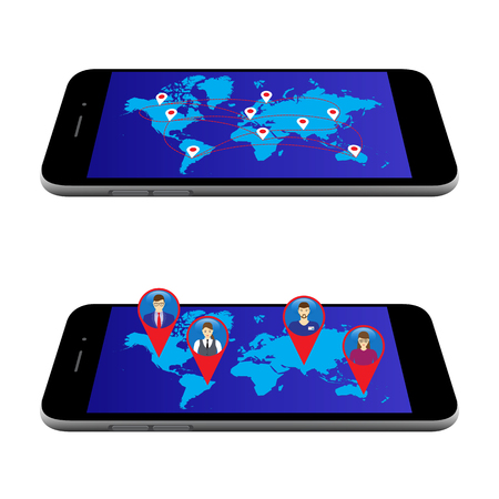 Map on the screen of the mobile device. Social Networks. Social Media. Global communication. Vettoriali
