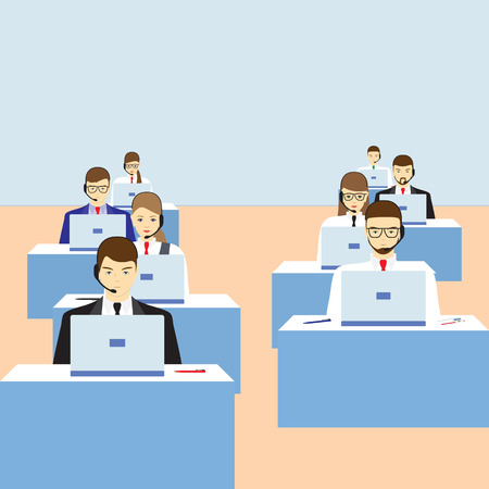 call centre: Men and women working in a call center. Support service. Call center.