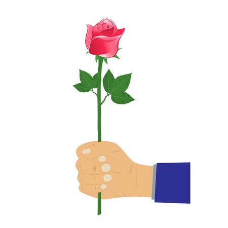 Hand with rose. Flower. Illustration, elements for design. Vettoriali