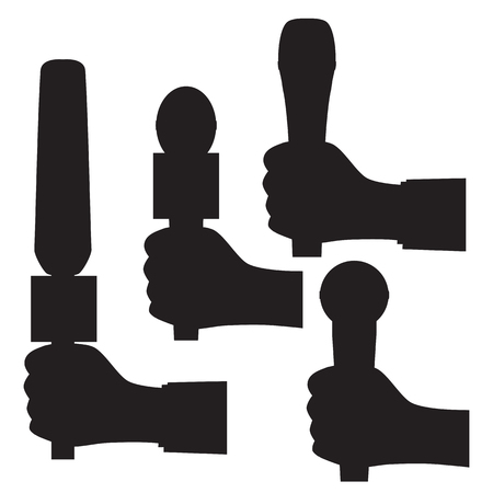 Black silhouette of a hand with a microphone. Illustration, elements for design.