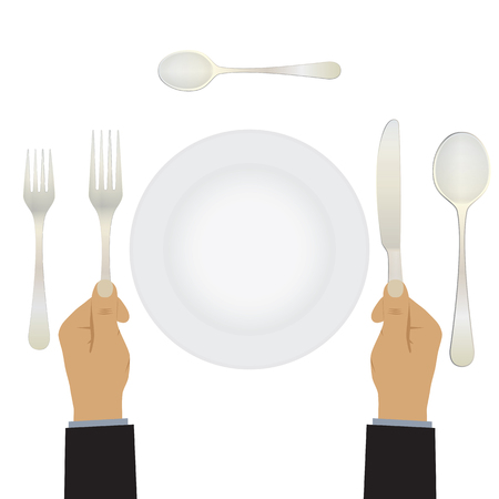 etiquette: Hand with a knife and fork. Tableware. Table setting. Etiquette. Top view. Elements for design: plate, fork, spoon, knife.