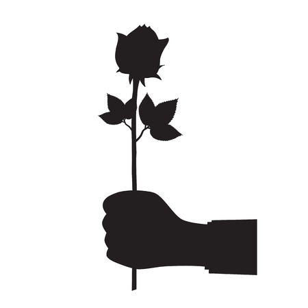 Black silhouette of a hand with a flower. Illustration, elements for design. Vettoriali