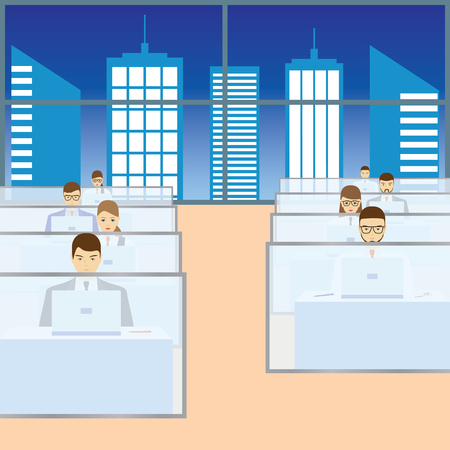 busy city: Men and women working in the office. Call center.