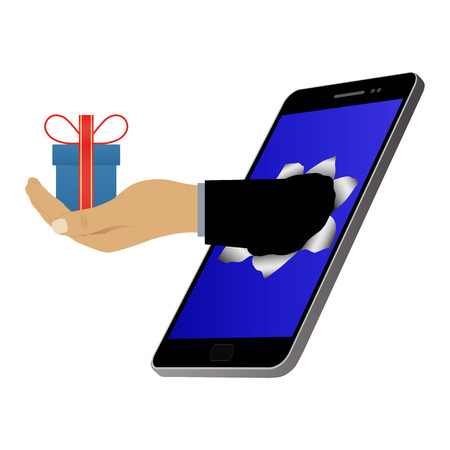 Hole on the screen and hand with a gift (with a box). Online shopping and mobile marketing. Purchase and delivery.