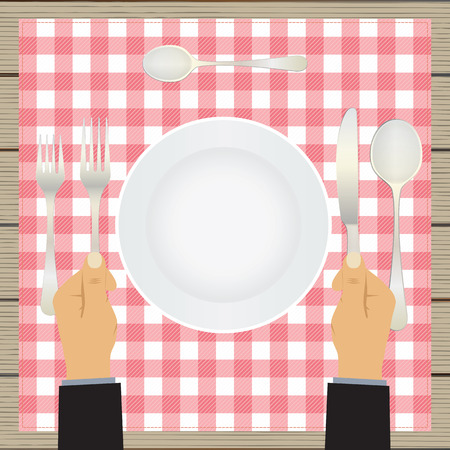 table setting: Hand with a knife and fork. Tableware. Table setting. Etiquette. Top view. Elements for design: plate, fork, spoon, knife.