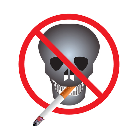 No Smoking. Sign. Icon. Skull with a cigarette.