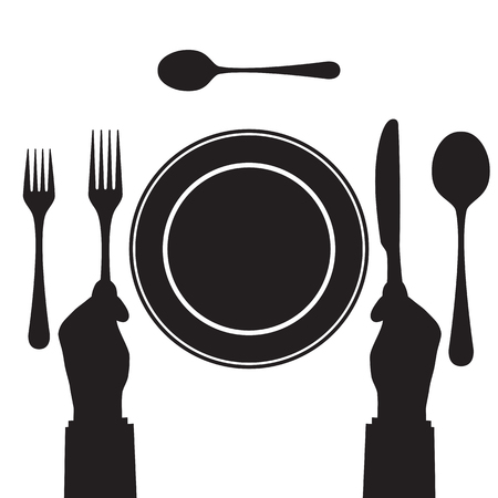 settings: Black silhouette of a hand with a knife and fork. Tableware. Top view. Elements for design: plate, fork, spoon, knife.