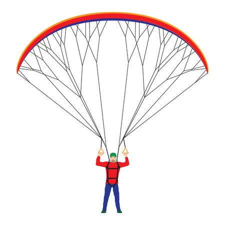 Man with a paraglider. Paraglider. Paraplane. Kite. Vettoriali