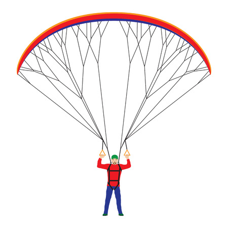 risk free: Man with a paraglider. Paraglider. Paraplane. Kite. Illustration