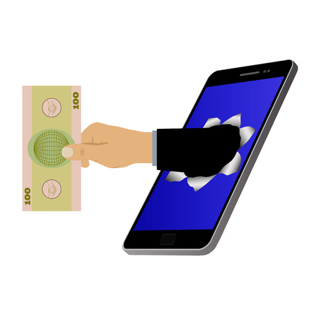 Hole on the screen and hand with banknote. Mobile marketing and online shopping. Purchase and delivery.