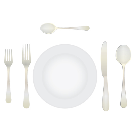 Cutlery and crockery on the table. Table setting. Etiquette. Top view. Elements for design: plate, fork, spoon, knife. Illustration