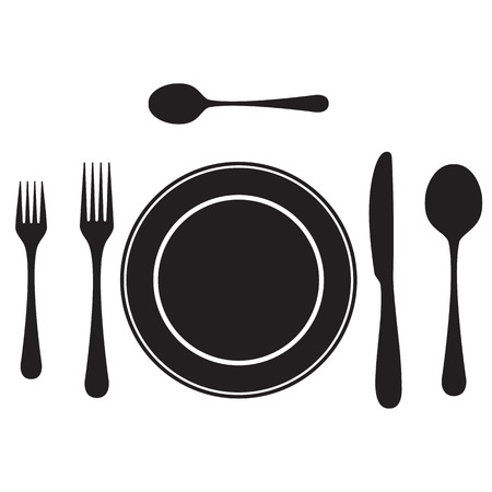 Black silhouettes of cutlery, tableware. Table setting. Etiquette. Top view. Elements for design: plate, fork, spoon, knife.