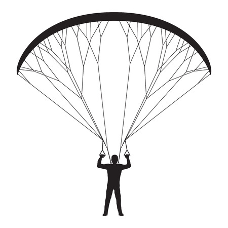glide: Black silhouette of a man with a paraglider. Paraglider. Paraplane. Kite.