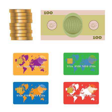 Banknote, coins, credit plastic bank card. Various payment methods.