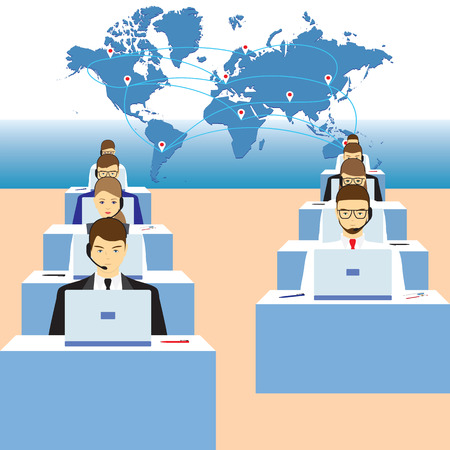 Men and women working in a call center. Support service. Call center.