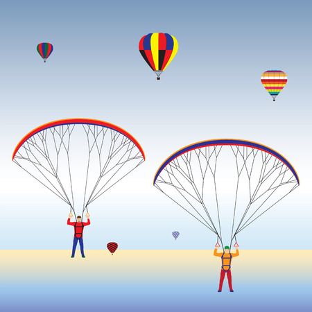 Paragliding and hot air balloons in the sky. Paraglider. Paraplane. Kite. Hot air balloon.