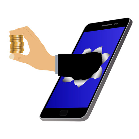 Hole on the screen and hand with coins. Mobile marketing and online shopping. Purchase and delivery. Vettoriali