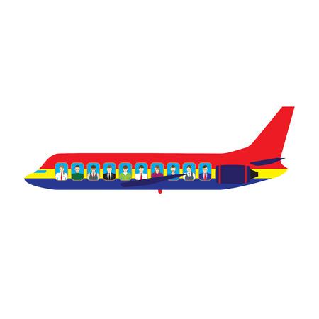 Passengers on the plane. Aircraft. Transport.