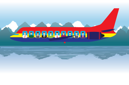 Aircraft with passengers over the lake. Transport. Vettoriali