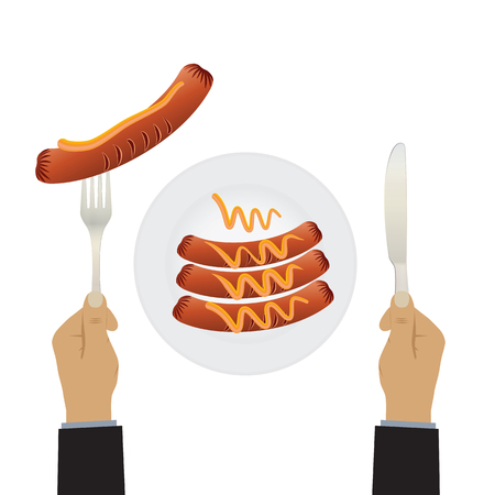 Sausages on a plate and hand with a knife and fork. Sausage, mustard, plate, fork, knife. Top view.