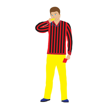 Referee with whistle and red card. Sports referee.